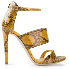 Yellow and beige leather snake print sandals from Sergio Rossi featuring an open toe, an ankle strap with a side buckle fastening, a snakeskin effect and a hig…