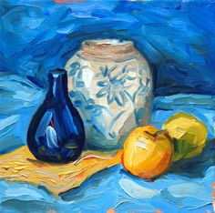 "blue yellow, still life with apple, pear 8"" x 8"" square original oil painting on canvas, Laurie Rubinetti, kitchen painting, thick paint by LaurieRubinettiArt on Etsy"