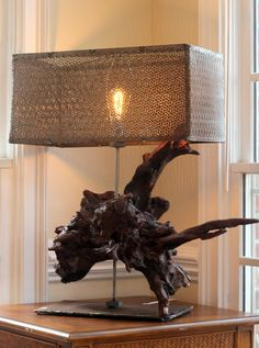 One of a Kind, Driftwood / Burl incorporated into a Lamp. Vintage style with steel shade and industrial base. Vintage style bulb, x x Vintage Style, Vintage Fashion, Driftwood Lamp, Bulb, Industrial, Shades, Steel, Lighting, Unique Jewelry