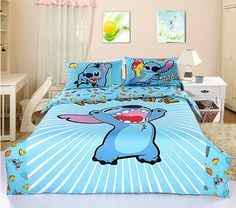 New 2013 Disney Lilo Stitch Bedding Set Queen Bed Cotton Gift RARE. want this to be my room. Christmas Gift Ever Lilo And Stitch 3, Cute Stitch, Girls Bedroom, Bedroom Decor, Blue Bedroom, Bedroom Bed, Disney Bedding, Disney Pillows, Disney Bedrooms