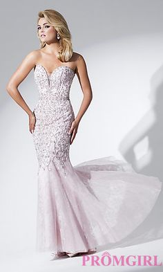Tony Bowls Strapless Beaded Lace Dress at PromGirl.com