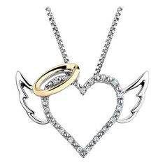 Reeds Sterling Silver And Yellow Gold Angel Heart Diamond Pendant... found on Polyvore