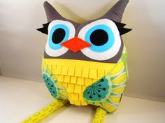 handmade stuffed toy owl pillow owl plush b e l l a by karensagez, $40.00