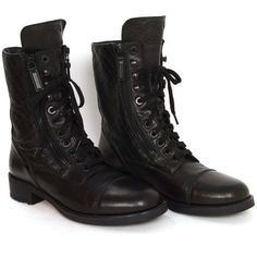Chanel Black Leather Lace Up Combat Boots sz 39 ❤ liked on Polyvore featuring shoes, boots, ankle booties, leather lace up boots, black booties, leather booties, leather lace up booties and black boots