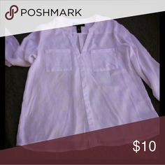 Long sleeved white top Sheer white top, super soft and great for dress up or with jeans. 100% polyester but almost feels like silk. international concepts petite Tops Blouses
