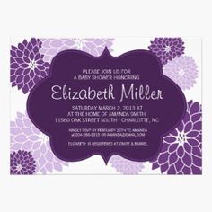 Plum, Lilac and Purple Dahlias decorate this Baby Shower Invitation card. It can also be customized as a bridal shower invitation or other wedding stationery.