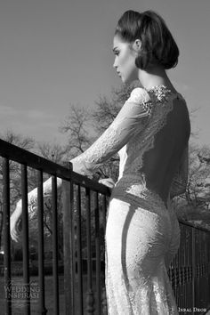 inbal dror bridal 2013 2014 long sleeve lace wedding dress keyhole back