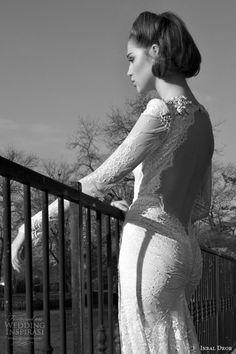 inbal dror bridal 2013 2014 long sleeve lace wedding dress keyhole back
