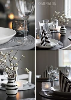 Black, grey and white dinner table Black And White Style, Grey And White, White Party Foods, Kitchen Dining, Dining Room, Deco Table, White Houses, Dinner Table, Tablescapes