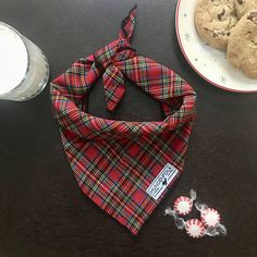 Red Plaid Dog Bandana / Dog Scarf / Dog Clothes / Dog Bandana
