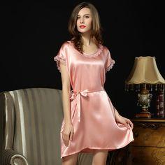 Plus Size Silk Nightgowns Silk Nighties Silk Sleepwear for Women S5508