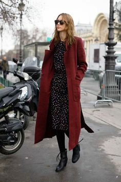 Burgundy coat and dark floral dress. #pretty #streetstyle #fall