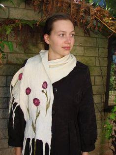 White scarf  Hand felted OOAK  Purple flowers  Eco by oksana, $42.00
