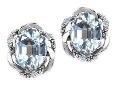 14k Gold Genuine Oval Aquamarine and Diamond Earrings
