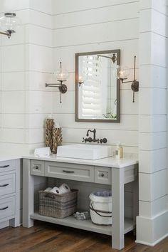 "Vanity paint color is ""Sherwin Williams SW 7017 Dorian Gray"". Wall color – ""Benjamin Moore White Dove"". Countertop – Cambria – Torquay"