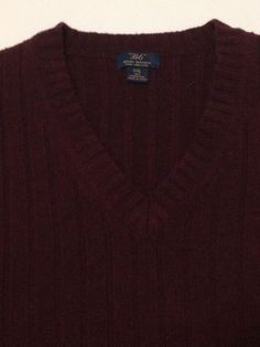 Brooks Brothers XXL 100% Lambswool Sweater V-Neck Men's Red Long Sleeve…