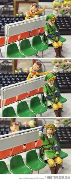 "I don't know why this made me laugh as muc has it did ""Sick of your sh*t, Woody! The Legend Of Zelda, Funny Pins, Funny Memes, Funny Stuff, Funny Drunk, Drunk Texts, Funny Cute, The Funny, Pixar"