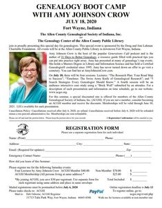 Genealogy Boot Camp with Amy Johnson Crow July 2020 Fort Wayne, Indiana by Allen County Genealogical Society of Indiana and the Genealogy Center at the Allen County Public Library. Amy Johnson, County Library, Free Travel, Family History, Genealogy, Special Events, Indiana
