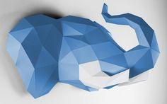 trofeo de pared elefante azul para habitación infantil de niño
