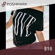 🆕🎉HP🎉7/12 LOVE Asymmetric Short sleeve T-Shirrt Trendy LOVE Asymmetric Short Sleeve T-Shirt  Color: Black with White Letters LOVE. Made of Polyester, Loose off one shoulder style. Very comfy! Qty 1 Size Medium Bust approx 38, 2 Large Bust approx 40, 2 XLarge Bust approx 43. Tops