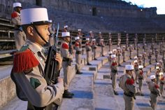 Soldiers of the 1st Foreign Cavalry Regiment of the French Foreign Legion stand guard during the rehearsal of the ceremony marking the commemoration...