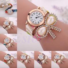 Women Geneva Crystal Braid Knit Bow Wrap Bracelet Analog Quartz Wrist Watch Gift #Unbranded #Fashion