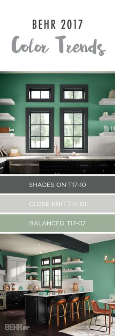 Check out BEHR's collection of 2017 color trends. This bold and confident palette is a unique way to bring color into your home. Pair the deep blue-green tone of Balanced with white cabinets and black accents for a dramatic and eye-catching space.