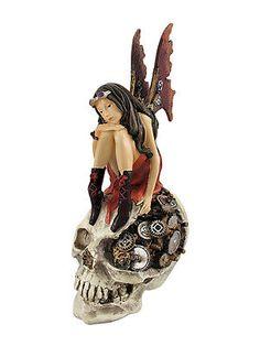 Steampunk-Fairy-On-Human-Skull-Statue-Steam-Punk