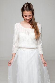 0c1cc39a956261 Edler Braut Pullover in Lace Muster mit V-Ausschnitt im Rücken, perfekt für  Herbst