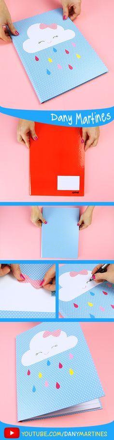 Faça você mesmo uma linda capa de caderno de nuvem fofinha, kawaii, cute , volta às aulas, DIY, do it yourself, Back to school, regreso a clases, Notebook