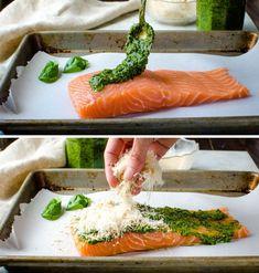 steps for assembling pesto baked salmon.