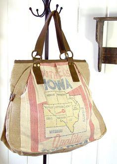 vintage seed sack handbag, $99.90