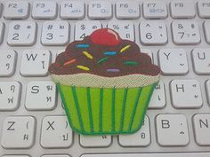 Cupcake Iron on patch - Cupcake Bakery Applique Embroidered Iron on Patch (green) by glassbottleshop on Etsy https://www.etsy.com/listing/273032062/cupcake-iron-on-patch-cupcake-bakery