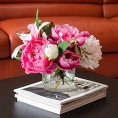 Silk Peonies Arrangement with Casablanca Lily Fuchsia Pink Peonies Silk Flowers Artificial Faux in Glass Vase for Home Decor. Sign-up newsletter for 10% discount https://www.flovery.com #PinkPeonies