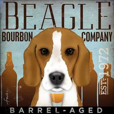 Beagle Bourbon company artwork original illustration graphic art on 14 x 14 canvas by stephen fowler