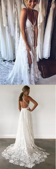 A-Line Wedding Dresses,Straps Wedding Dress,Backless Wedding Dresses With Court Train, Lace Wedding Dresses,Beach Wedding Dresswe