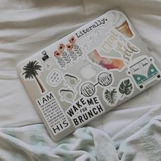 a new macbook with aesthetic stickers Mac Stickers, Cute Laptop Stickers, Macbook Stickers, Macbook Decal, Preppy Stickers, Phone Stickers, Macbook Skin, Macbook Case, Cute Phone Cases