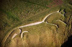 The Uffington White Horse is a highly stylized prehistoric hill figure, 110 m long (374 feet), formed from deep trenches filled with crushed white chalk. Believed to be based on the similarity of the horse's design to comparable figures in Celtic art, and confirmed following a 1990 excavation led by Simon Palmer and David Miles of the Oxford Archaeological Unit, following which deposits of fine silt removed from the horse's 'beak' were scientifically dated to the late Bronze Age