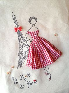 melusineh: Paris 1950's French Fashion Retro Chic Eiffel Tower Tote Bag