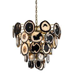 MI-GO米高家居,黑色天然玛瑙不锈钢吊灯,Black natural agate stainless steel droplight