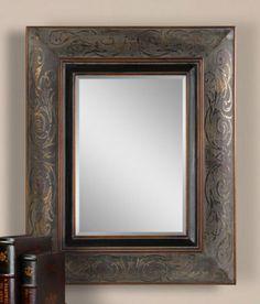 Mexican Hacienda Spanish Colonial Revival Bronze Scroll Wall Vanity Bath Mirror | eBay