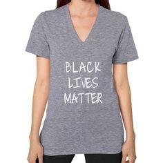 Black Lives Matter V-Neck (on woman) Shirt - Fonts White