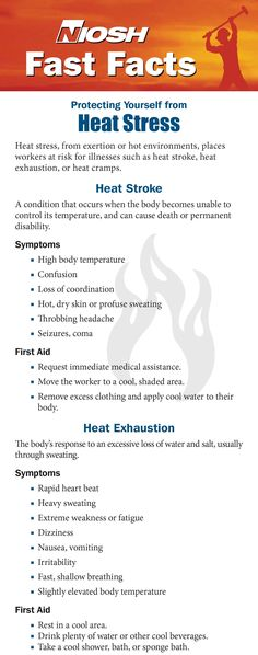 Workers who are exposed to extreme heat or work in hot environments may be at risk of heat stress. Get the NIOSH Fast Facts!