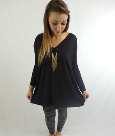 V-Neck Piko Tunic Top-Black - BubbaJane's Boutique
