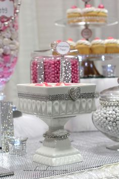 strawberry puffs, candy buffet, pink candy, bling, only delights. Candy Buffet Tables, Dessert Buffet, Candy Table, Pink Candy Buffet, Bling Wedding Decorations, Sweet Buffet, Candy Display, Candy Bouquet, Sweet 16 Parties