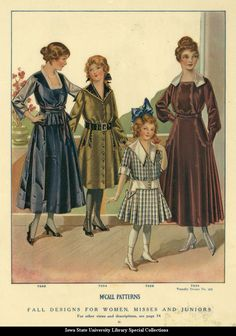 Day dresses for women, and girls, 1916, McCall's Magazine. Even for the girls bright colors were not in fashion during the war.