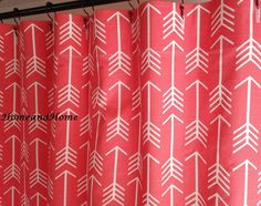 Coral Shower Curtain Etsy Intended For Navy And Coral Shower Curtain