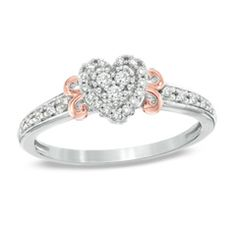 1/6 CT. T.W. Diamond Heart Promise Ring in Sterling Silver with Rose Rhodium - Zales