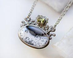 Dendritic Opal Necklace/ Gem Grade Yellow by modesteparisienne