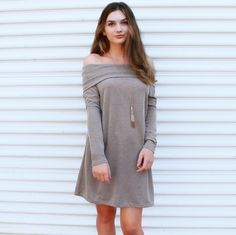 Your going to want this off the shoulder in your closet this Fall it can be worn as a dress or tunic! (Shop at the link in bio) The Lauren Off Shoulder Knit Dress $38